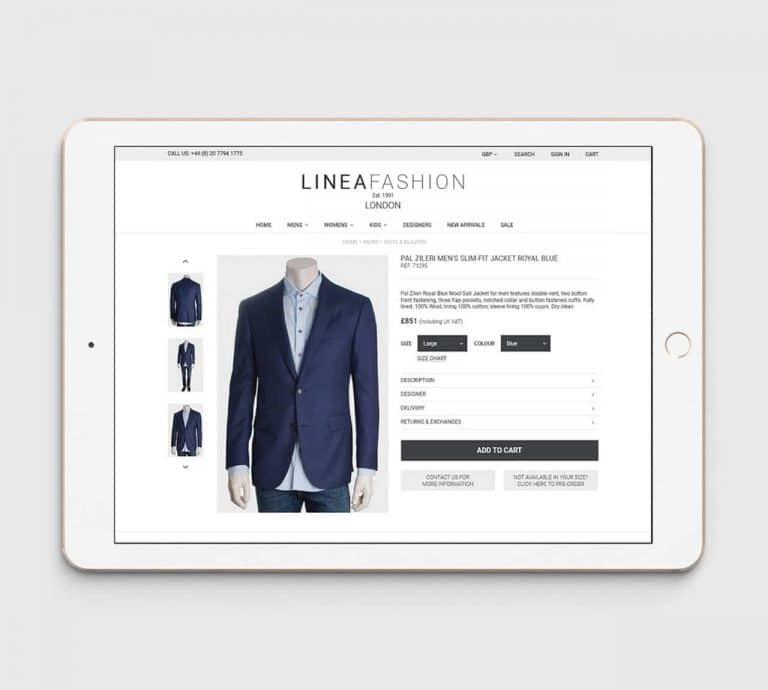 Linea Fashion Mens Suits Website View