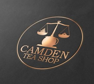 Camden Tea Shop Bronze on Black Branding Logo