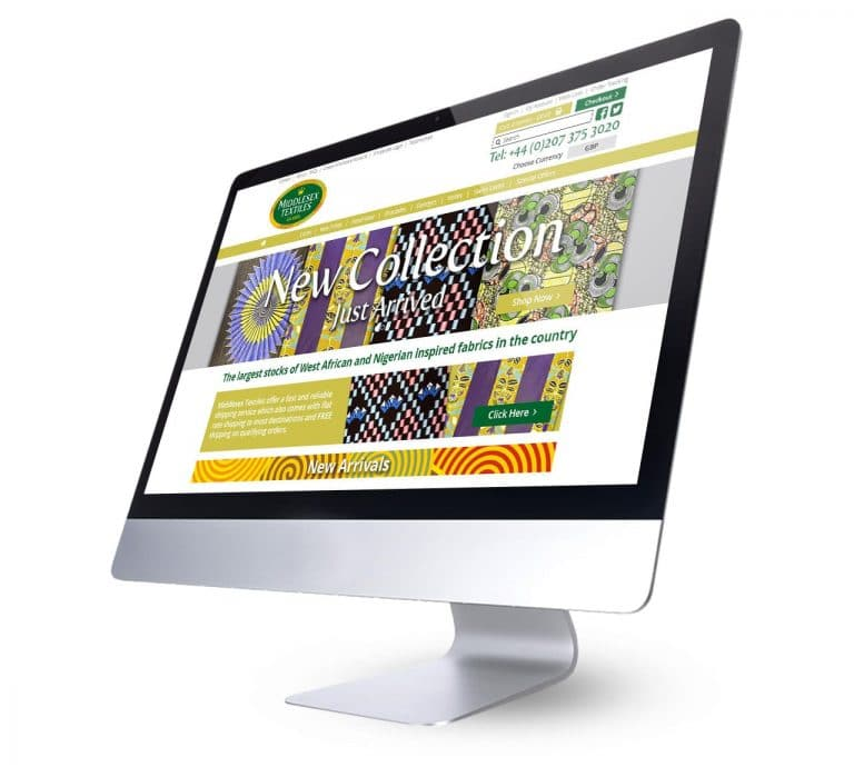 Middlesex Textiles Website Branding Home Page View