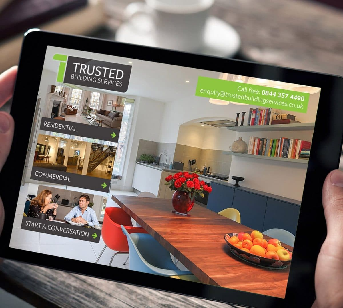 Trusted Building Services Website Tablet View